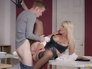 Milf in a leather pocket-sized skirt needs that hulking cock inside her