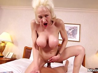 Shameless granny comes to my studio to do POV porn