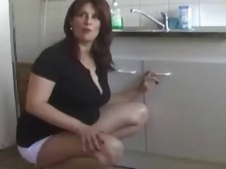 Hot brunette Stella fucked in the matter of doggy style in the matter of the kitchen