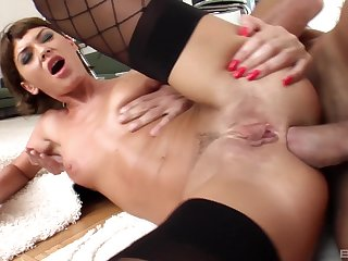 Beautiful anal at home with enticing Bibi Black