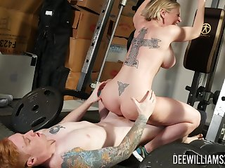 Busty mom rides cock at transmitted to gym deprive of working out