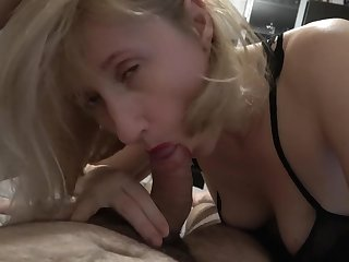 Blonde GILF gagging surpassing my huge penis