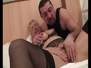 Hungarian Granny Sila - mature in underclothes in homemade porn with cumshot
