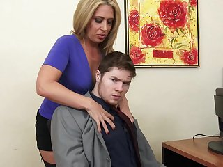 X feminine bigwig Stevie Lix checks the abilities of a new young employee