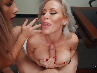 Horny boss makes Vienna Rose and Casca Akashova suck his blarney