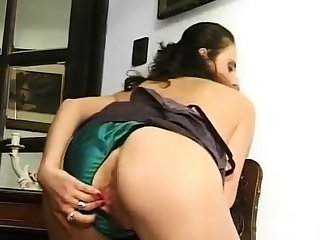 Granny in soaked panties fingering muted increased by swollen cunt