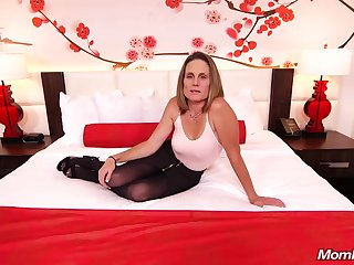 Skinny night milf with saggy tits, Judith, is riding a hard white cock for a camera