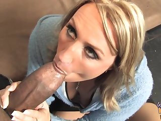 The man blonde unsubtle is eagerly sucking a fat, black cock and getting it from the to