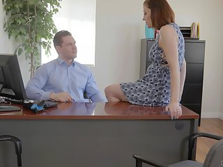 Secretary is keen to disquiet boss's brawny dick for a happier