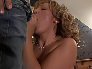 Beautiful granny Lorin has an affair with handsome young suppliant