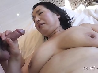 Chubby asian GILF moronic coitus video
