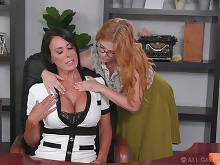 Lesbian supplementary seduces seduces bossy cougar Penny Pax and licks her pussy in the cards explore
