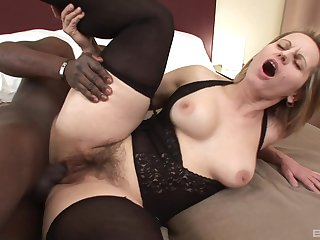 Interracial sex between cheating wife Magda together with a black stud