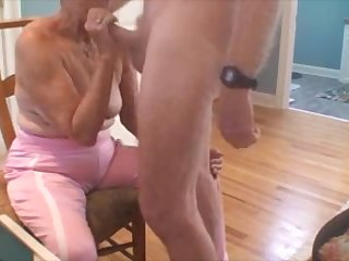 Very old grandma sucking dick and get cum on breast