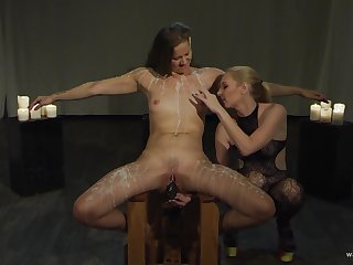 Lesbians use harsh action for their portend femdom play