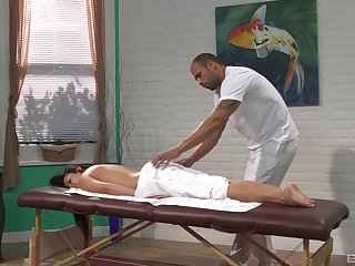 Black masseur works woman's tight holes in a charming mode